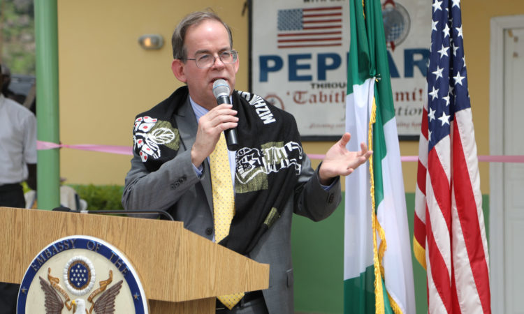 Charge d'affairs of the US Mission to Nigeria, David Young, delivers remarks at the the clinic launch and kick off of polio immunization. Photo Credit: U.S. Embassy/Ola Aworinde