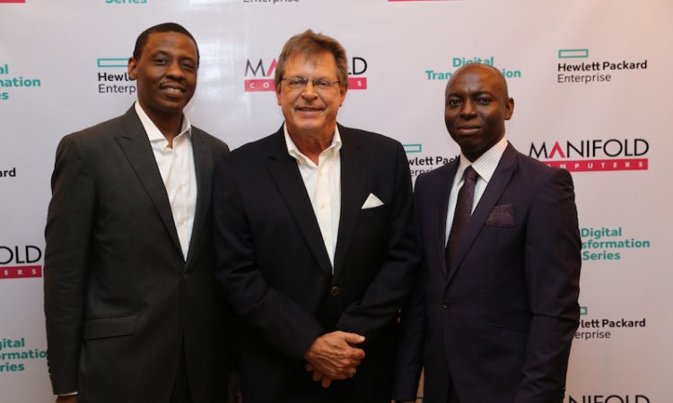 L-R: Managing Director/CEO, Manifold Computers Ltd, Gbemiga Delano; United States Consul General F. John Bray; with Managing Director, Hewlett Packard Enterprises (HPE) Nigeria, Chukwuma Okpaka, during an Oil and Gas Digital Transformation Series Event held in Lagos on Wednesday. Photo Credit: U.S. Consulate General Lagos.