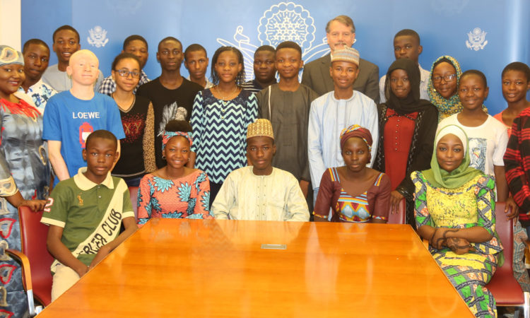 YES participants with acting Acting Deputy Chief of Mission Anton Smith