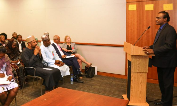 Acting Deputy Chief of Mission Aruna Amirthanayagam speaking at the VOA Film Screening - Boko Haram: Journey from Evil