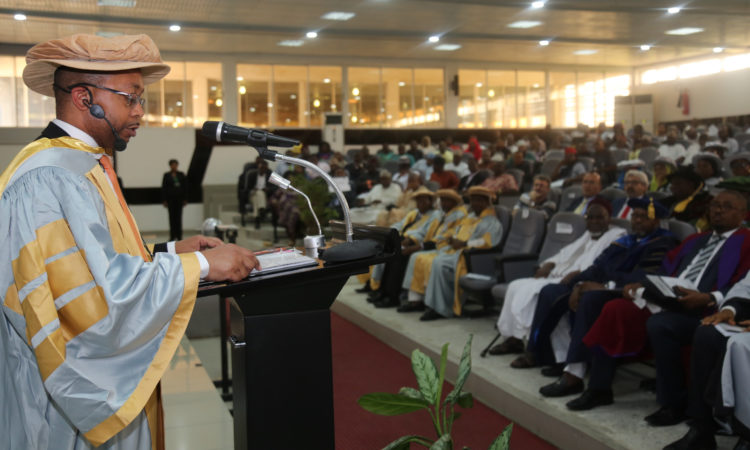 U.S. Embassy Cultural Affairs Officer Sterling Tilley speaking at the Baze University Convocation in Abuja