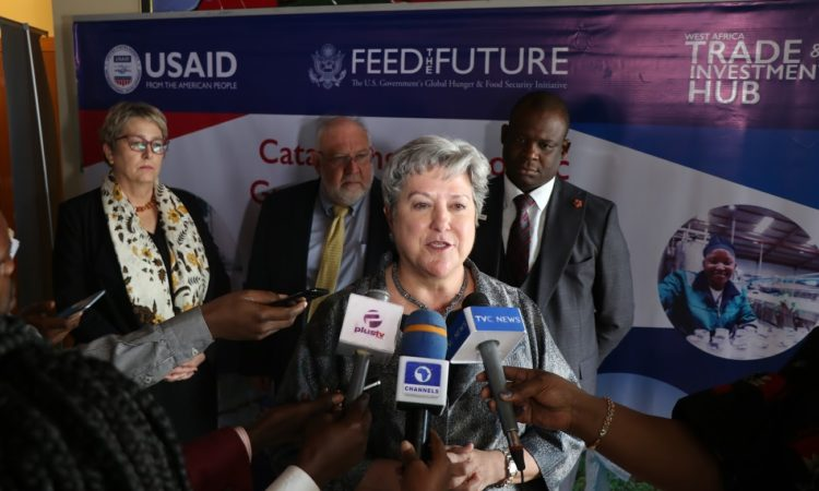 Ambassador Mary Beth Leonard at the launch of the USAID West African Trade Hub