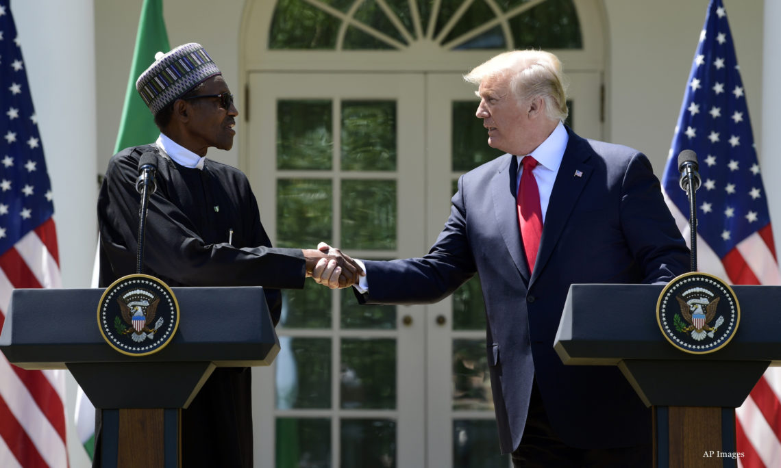 b92c24b6d President Donald Trump and Nigerian President Muhammadu Buhari shake hands  during for a news conference in
