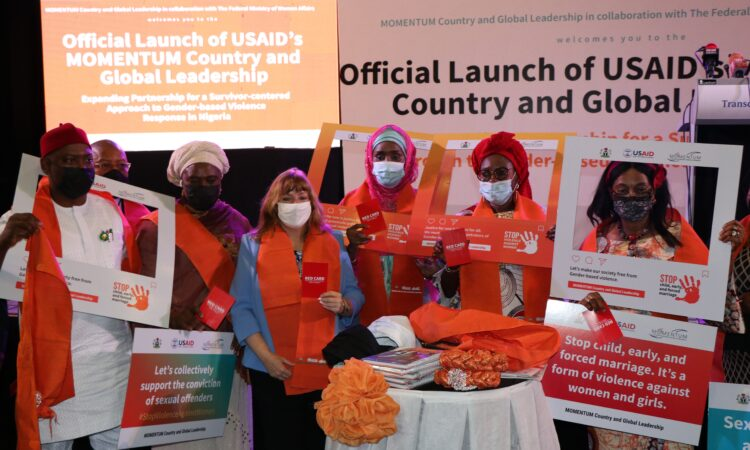 U.S. Chargé d'Affaires, Kathleen FitzGibbon (center), joined Nigerian Minister for Humanitarian Affairs Ms. Sadiya Umar Farouq (fourth right) and Minister of Women's Affairs Dame Pauline Tallen (third right), to ceremonially launch a four-year activity from USAID that will prevent and respond to gender-based violence in Sokoto and Ebonyi states.
