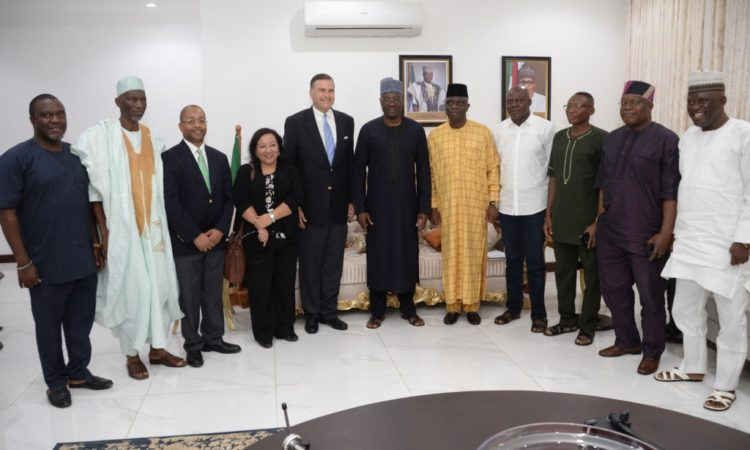 Ambassador W. Stuart Symington with Governor Abdulfatah Ahmed and others at the Kwara State Government House
