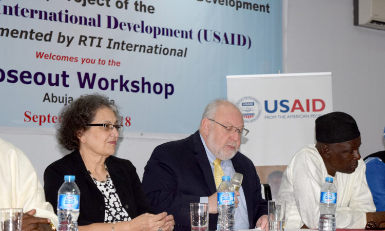 L - R: Yvonne Sidhom, RTI Acting Chief of Party, USAID/Nigeria Mission Director Stephen M. Haykin, Hon. Ibrahim Arzika Sarki - Representative of the Governor of Sokoto State