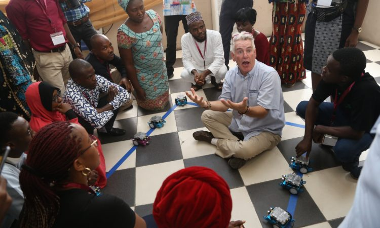 RoboRAVE International Director of Global Programs Russ Fisher-Ives during a workshop with teachers at the Vivian Fowler Memorial College for Girls, Lagos.