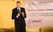 Ambassador Stuart Symington making remarks at the launch of the Feed Future Nigeria Agribusiness Investment activity.