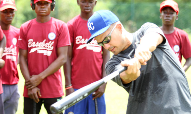 Former Major League Baseball Pitcher Jeremy Guthrie participating at the Baseball Tomorrow Clinic at the National Stadium in Abuja