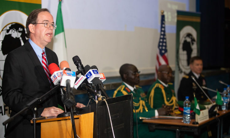 Charge d' Affaires David Young delivers remarks at the 6th Africa Land Forces Summit 2018 in Abuja - April 16, 2018