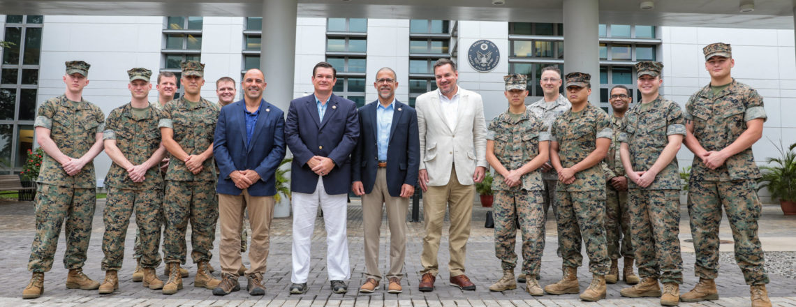 Members of the U.S. Congress meet with U.S. military personnel at the U.S. Embassy Abuja