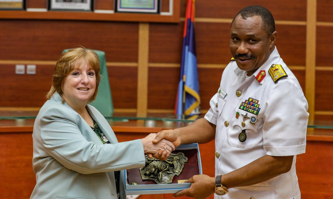 U.S. Deputy Chief of Mission Kathleen Fitzgibbon with Director of Training Defense Headquarters Rear Admiral Dolapo Kolawole.