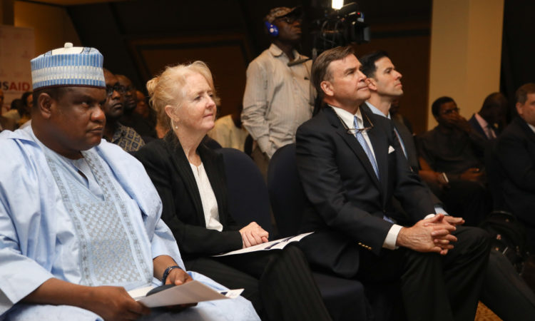 L-R: Hon Kawuwa Damina, Speaker of the Bauchi State House of Assembly; Erin Holleran, USAID Deputy Mission Director; W Stuart Symington, US Ambassador to Nigeria; Daniel Twining, President of International Republican Institute.