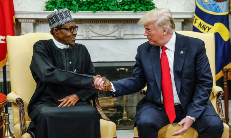 U.S. President Donald Trump meets with Nigeria's President Muhammadu Buhari in the Oval Office of the White House in Washington, U.S., April 30, 2018. REUTERS/Kevin Lamarque