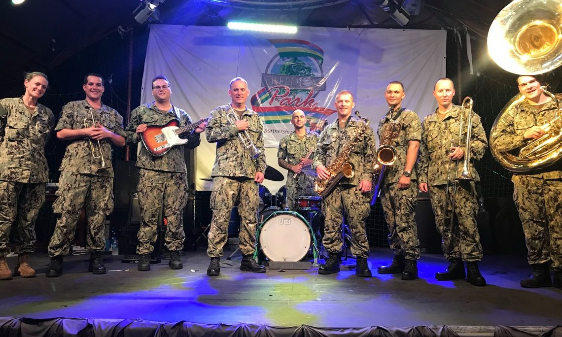 United States Naval Forces Europe Topside Band during a performance at the at the Johnson Jakande Tinubu Park in Alausa in Lagos on Sunday. Photo Credit: U.S. Consulate General Lagos.