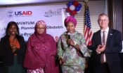 Nigerian Minister of Women and Social Affairs Dame Pauline Tallen (third right) announces the launch of the USAID Safe Surgery in Family Planning and Obstetrics activity to help more women in Nigeria overcome the burden of obstetric fistula. Joining Minister Tallen were Dr. Zainab Shinkafi Bagudu, First Lady of Kebbi State (second left), USAID Health Office Director Paul McDermott (right) and EngenderHealth West Africa Regional Representative Nene Cisse (left).