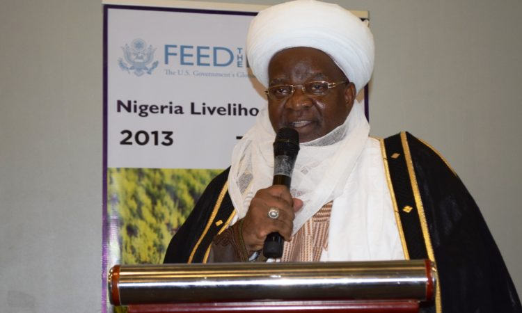 Alhaji Isa Haruna Rasheed, District Head from Ambursa, Kebbi State, speaking at the closing of the Feed the Future Nigeria Livelihoods activity in Abuja. June 22, 2018