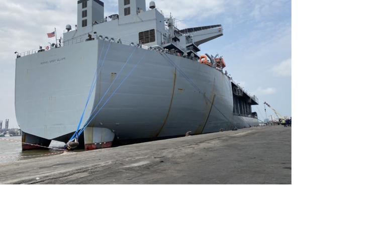 "USS Hershel ""Woody"" Williams on arrival in Lagos on Saturday."