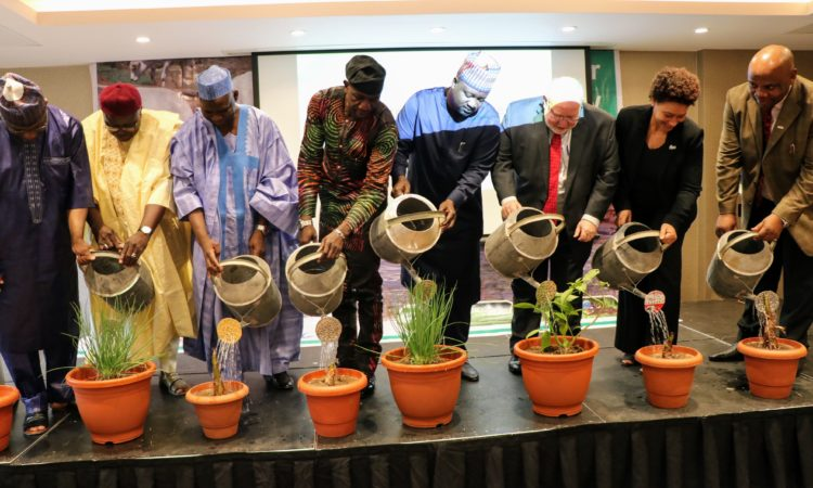 Dignitaries performing the formal launch of USAID's Water for Agriculture activity in Abuja. From left to right : Representative of the Minister of Agriculture and Rural Development, Prof. M.S. Sagagi; Representative of the Minister of Water Resources Engr. G. Bello; Commissioner of Water Resources Yobe State Senator Alkali Jagere; Commissioner of Agriculture Adamawa State, Prof. Dishi Khobe; Deputy Governor of Borno State Alhaji Umar Kadafur; USAID Mission Director Stephen M. Haykin; Country Representative of CRS Rebecca Hallam; and Water Manager USAID, Dr. Joachim Ezeji.
