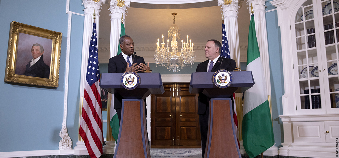 Nigeria's Minister of Foreign Affairs Geoffrey Onyeama, left, speaks next to Secretary of State Mike Pompeo, Tuesday, Feb. 4, 2020, at the State Department in Washington. (AP Photo/Jacquelyn Martin)