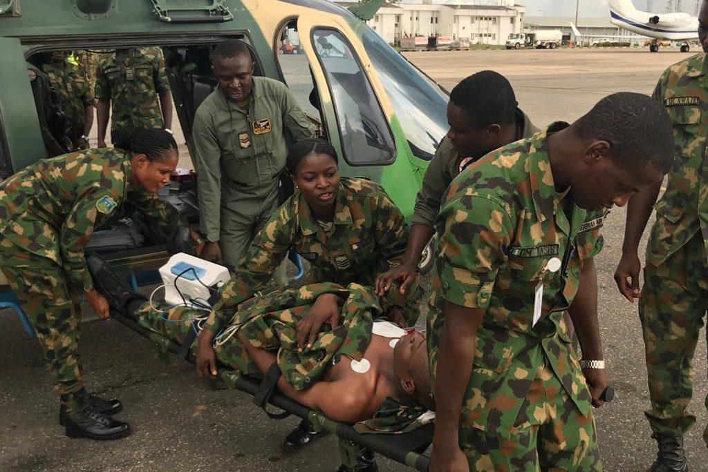 U.S. Military trains Nigerian Air Force medical personnel on Casualty Evacuation (CASEVAC).
