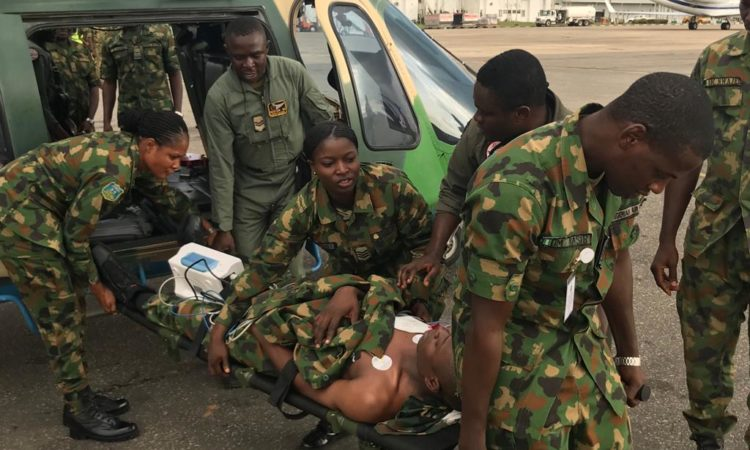 U.S. Military trains Nigerian Air Force medical personnel on Casualty Evacuation (CASEVAC).