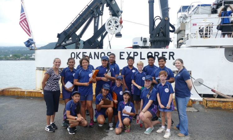 Vaiala Beach Primary School after their tour of the Okeanos Explorer. Photo credit: U.S. Department of State.