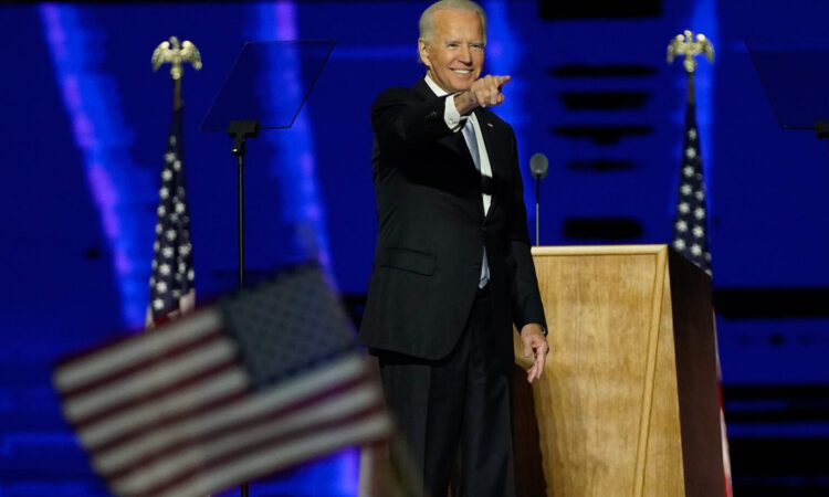 President-elect Joe Biden after delivering his victory speech in Wilmington, Delaware (© Andrew Harnik/AP Images)