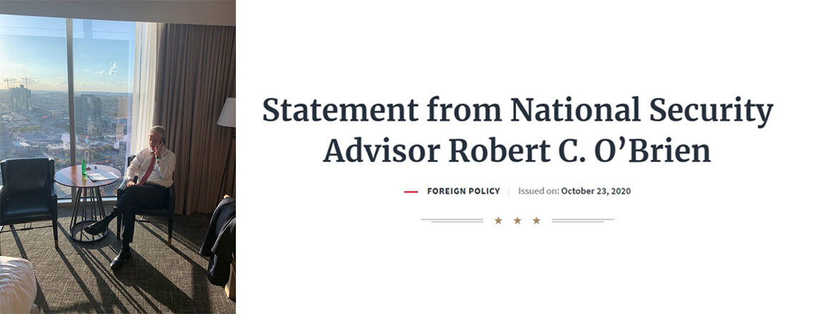 Statement from National Security Advisor Robert C. O'Brien