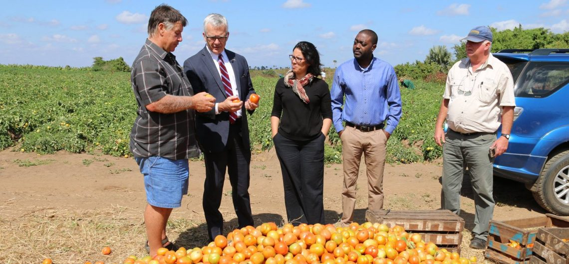 Ambassador Pittman receiving explanation related to tomatos's production