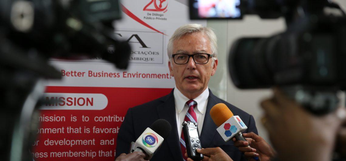 Ambassador Pittman speaking to the press during his visit to CTA