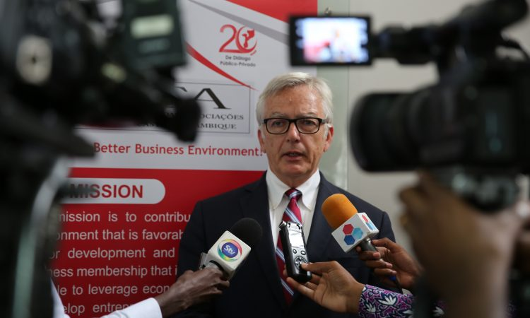 Ambassador Pittman speaking to the press during his visit to CTA