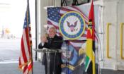 Ambassador Hearne deliviring remarks on USS Woody Williams Navy Ship Visit0