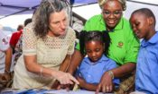 Jennifer with children at mother language day