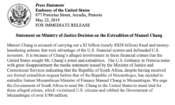 Statement on Ministry of Justice Decision on the Extradition of Manuel Chang