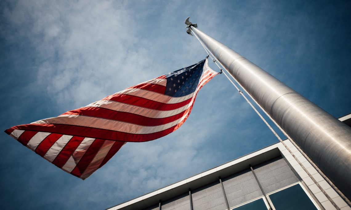 The flag of the United States at half-staff