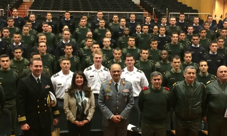 Herro Mustafa with cadets at the military academy