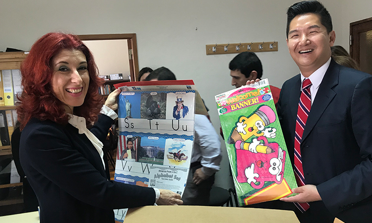 The school librarian and Consul Chue