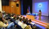 Herro Mustafa makes her presentation at Salesianos school