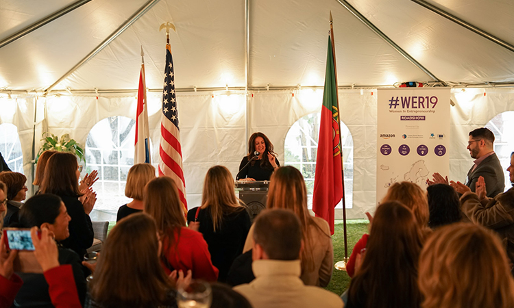 DCM Herro Mustafa delivers her remarks during WER19 in Lisbon