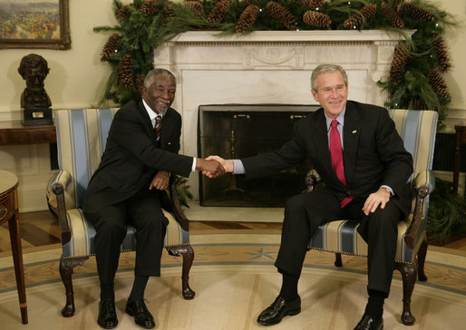 Image of President Bush and President of South Africa Thabo Mbeki