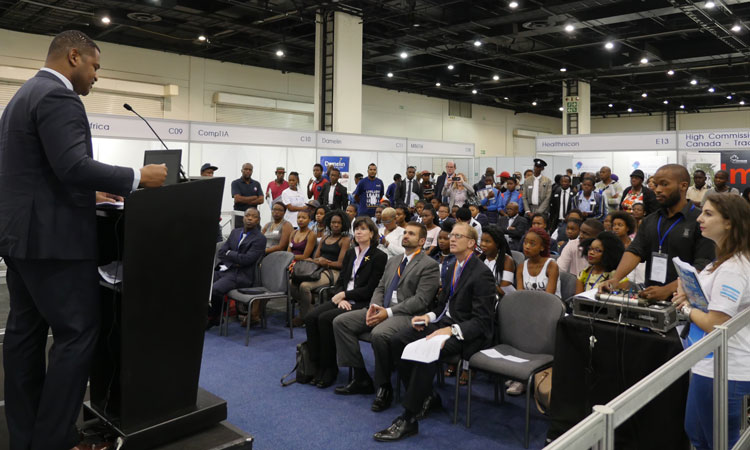 U.S. Assistant Secretary of Commerce for Industry and Analysis Marcus Jadotte opened the Career Indaba Education Fair on March 7, 2016, at the Sandton Convention Center.