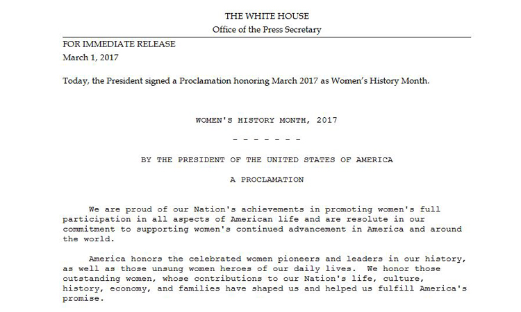President Donald Trump Proclaims March 2017 as Women's History Month