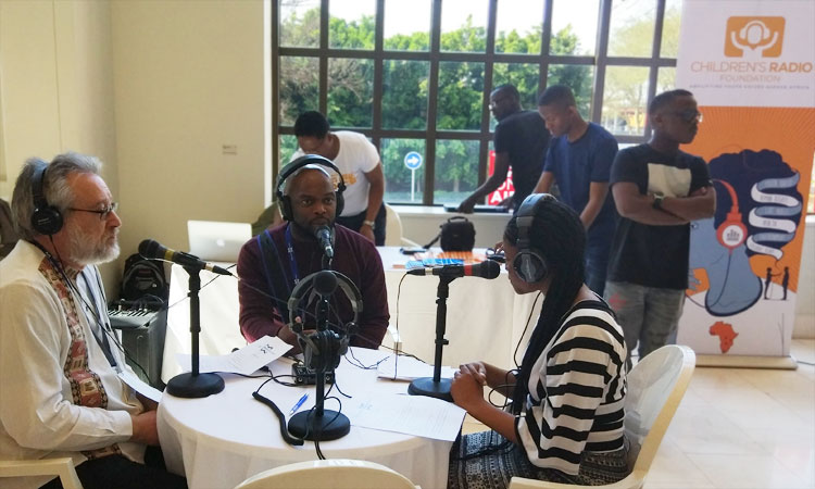 Young reporters interviewed industry leaders at the MMX Children's Radio Foundation pop-up studio.