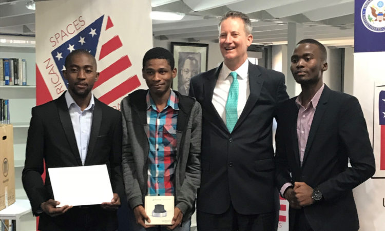 Consul General Michael McCarthy with winners Nkululeko Tunzi, Isaac Modisa and Thomas Matina