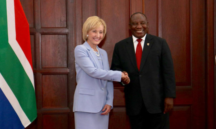Ambassador Lana Marks with South African President Cyril Ramaphosa after presenting her credentials to the President