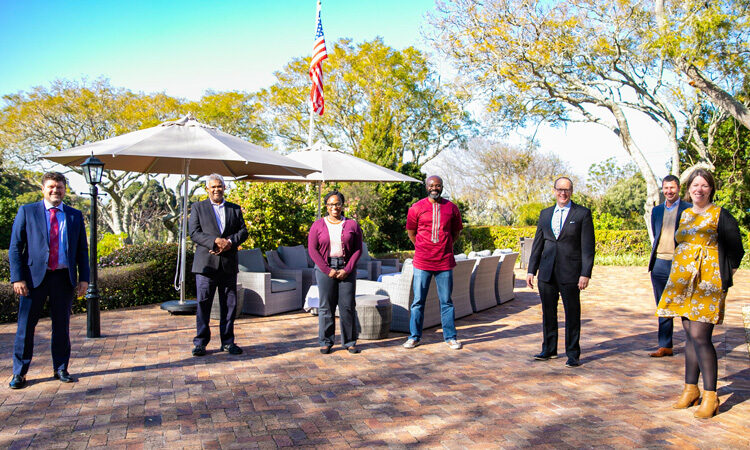 Deputy Assistant SecretaryAkunnaCook, United States Acting Consul General Will Stevens, Wesgro Acting CEO YawPeprah and guests celebrating the six-month mark of the Trade and Investment Promotion Partnership, launched in February 2021.