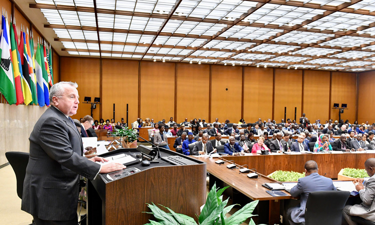 Deputy Secretary of State John Sullivan delivers opening remarks at the United States-Sub-Saharan Africa Trade and Economic Cooperation Forum (AGOA Forum) at the U.S. Department of State in Washington, D.C., on July 11, 2018