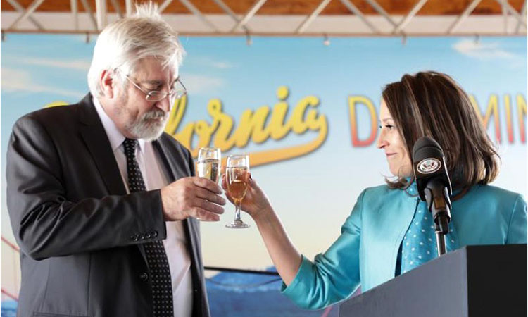 """To the enduring friendship and shared values between SA and the U.S.; to a quarter century of democracy in SA; and to the U.S. on its 243rd birthday. Cheers!"" - A toast by Chargé d'Affaires Jessye Lapenn and SA Government representative, Ambassador Peter Goosen"