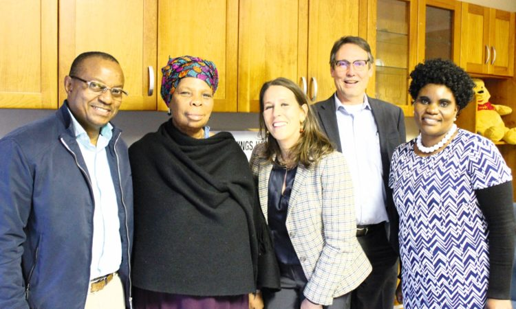 Nthatho Motlana, Sakina Mohamed, chargé d'affaires Jessye Lapenn, Pepfar coordinator Chuck Pill and Lucky Thusi met at the GRIP offices to discuss the sex-work programme which benefits from US funding.